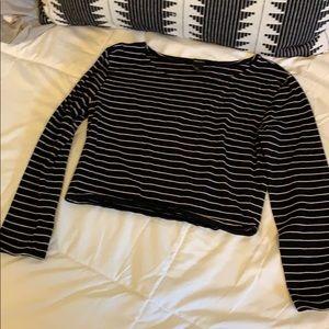 Forever 21 black & tan long sleeve crop top